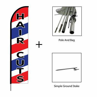Hair Cuts Salon Sign Banner Swooper Feather Advertising Flag Pole Kit 15ft