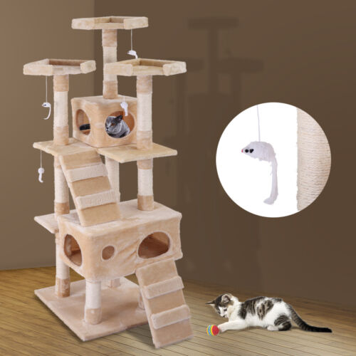 """67"""" Cat Tree Furniture Scratching Tower Condo Post Pet Kitty Playhouse Beige"""