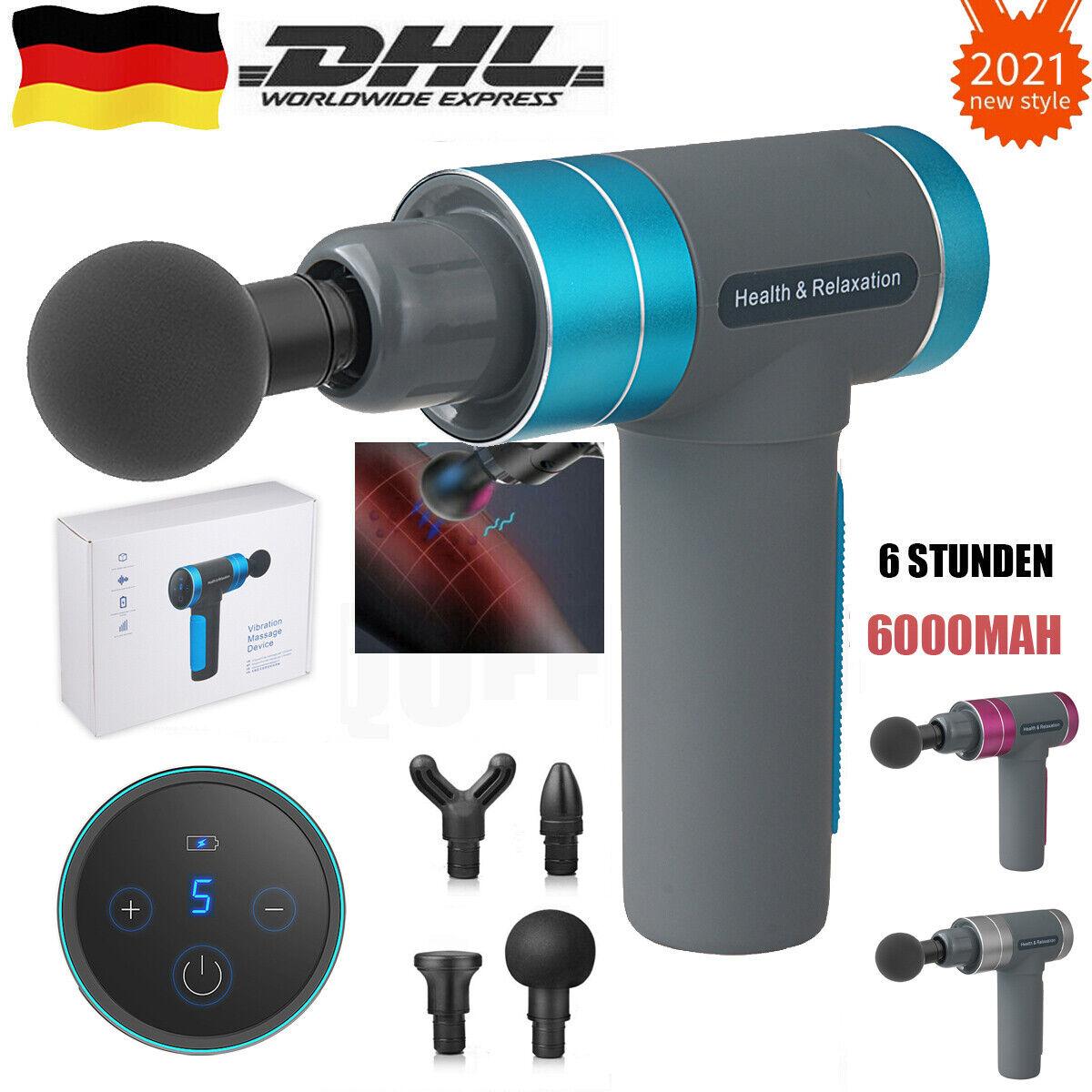 LCD Electric Massage Gun Massagepistole Massager Muscle Massagegerät mit 4 Köpfe