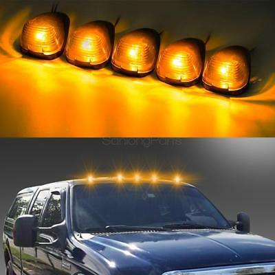 (5) Black Smoked Cab Roof Marker Running Lamps w/ Amber LED Lights For Truck 4x4