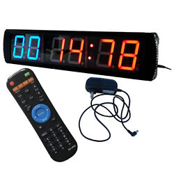 4 Giant Large LED Interval Clock 6 Digits Gym Clock for Workouts w/Remote
