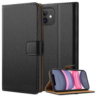 GENUINE Leather Case For iPhone 11 11 Pro Max Cover Shockproof Real Wallet Flip