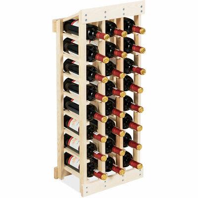 24 Bottle Wood Wine Rack 3 Column 8 Row Storage Display Shelving Free -