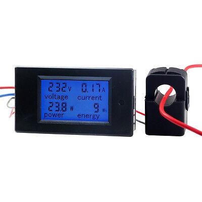100A AC Digital Power KWh Watt Meter Volt Amp Voltmeter Ammeter Open Close CT