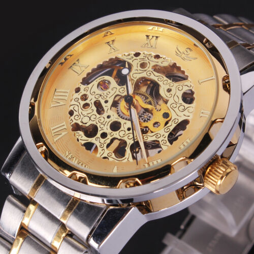 $13.99 - US SHIP Luxury Men's Gold Skeleton Mechanical Stainless Steel Sport Wrist Watch