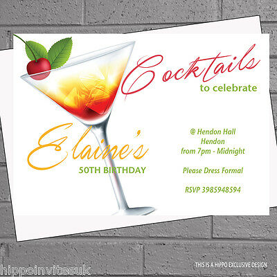 Cherry Cocktail Party 30th 40th 50th 60th Birthday Invitations x12 +envs H0357 - 60th Birthday Invites