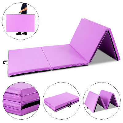 """4'x10'x2"""" Portable Gymnastic Mat Thick Folding Gym Fitness Exercise Mat Purple"""