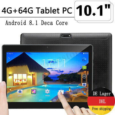 """10,1"""" Zoll HD Tablet PC 4+64G Android Octa Core 2GHz Dual SIM Kamera Xc"""