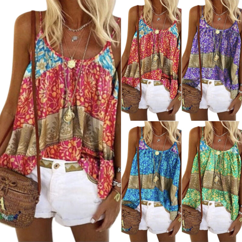Women Floral Sleeveless Cami Tank Tops Casual Summer Baggy Strappy Vest Blouses Clothing, Shoes & Accessories