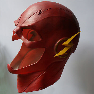 The Flash Mask with Zipper Cosplay Helmet Red Latex Full Head Mask Halloween new - Flash Mask