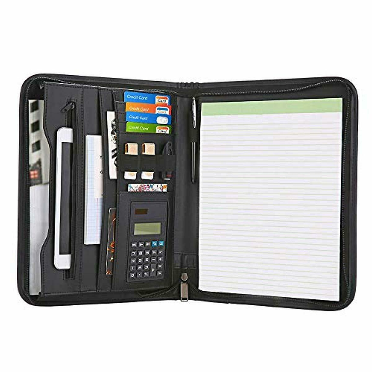 Zippered Padfolio with Calculator Black PU Leather Portfolio