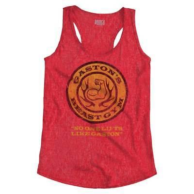 Gastons Beast Gym No One Lifts Like Beauty Workout Womens Racerback Tank Top