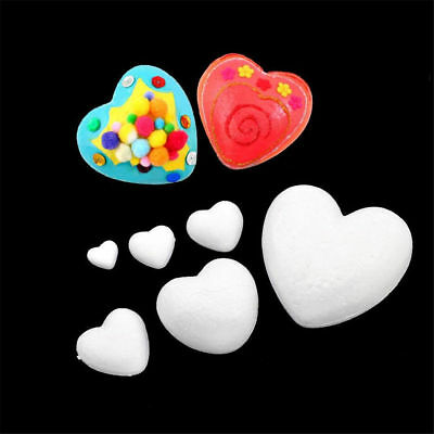2~10PCS White Foam Styrofoam Polystyrene Modelling DIY Craft Heart Shape Decor