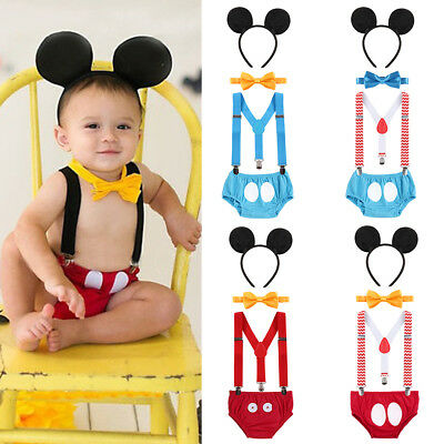 Mickey Mouse Baby Boy Birthday Cake Smash Photography Prop Clothes Romper Outfit - Mickey Mouse Outfit