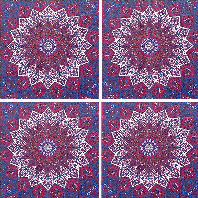 4 PCS Indian Wall Hanging Twin Psychedelic Bedspread Throw Star Mandala Tapestry