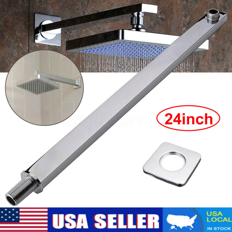 24-inch Stainless Steel Square Rainfall Shower Head Extension Arm Wall Mounted