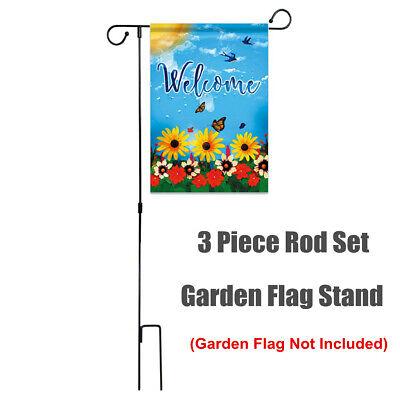 Garden Yard Flag Pole Holder Stand Decoration Black Iron Wro