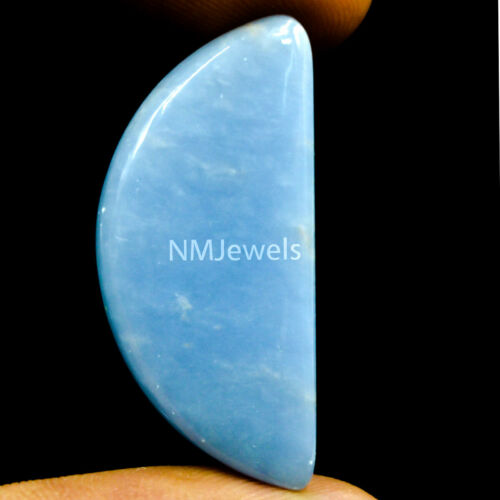 Cts. 23.40 Natural Blue Angelite Cabochon Half Moon Fancy Cab Loose Gemstone