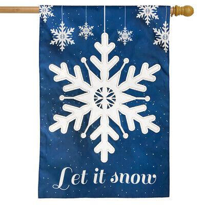 "Let It Snow Snowflakes Applique House Flag Winter 28"" x 40"" Briarwood Lane"