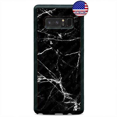 Black Galaxy Stone (Black White Marble Case Cover Fine Stone For Samsung Galaxy Note 9 8 5 4 3)