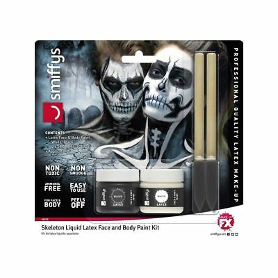 Latex Body Paint (Smiffys Skeleton Black Liquid Latex Face & Body Paint Halloween Special FX Kit)