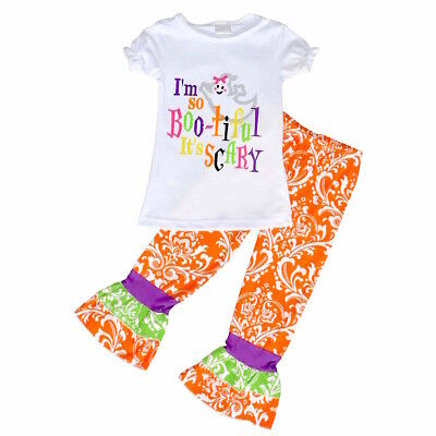 Girls Ghost Halloween Outfit Boutique Toddler Kids Clothes Leggings Shirt 4-8 US - Halloween Toddlers