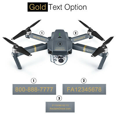 Drone Registration Number Decals / Labels - FAA UAS Compliant - Mavic Pro shown