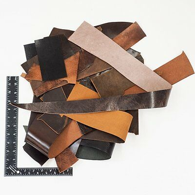 Water Buffalo Leather Scrap, 2 Lbs Mixed Color & Weights Veg Tan Remnants Tan Color Leather Weight