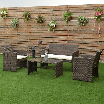 4 PCS Brown Wicker Cushioned Rattan Patio Set Garden Lawn Sofa Furniture Seat