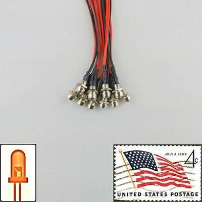 10x 3mm Orange Clear Pre Wired LEDs 12v Chrome Bezel Holder USA