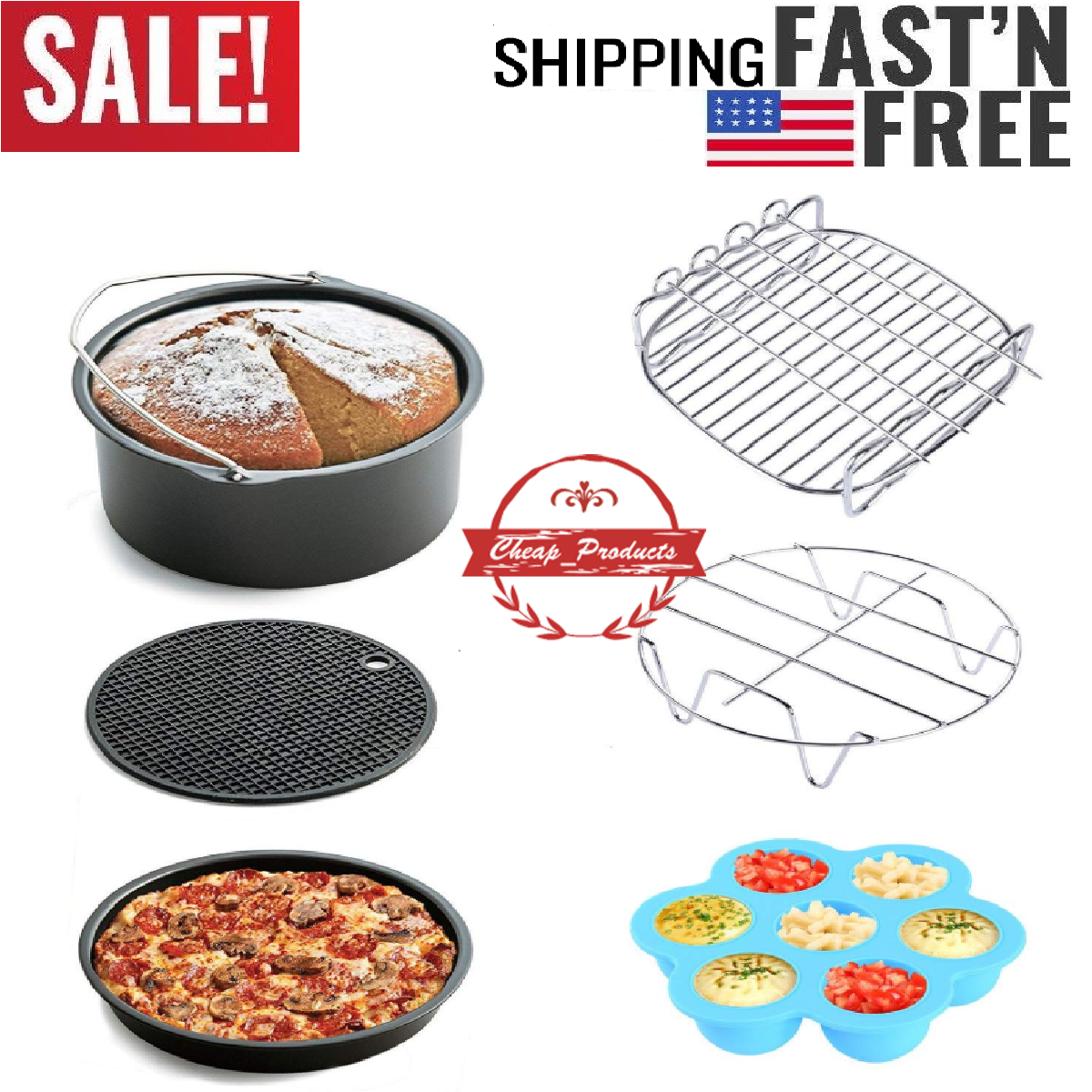 Air-Fryer-Accessories-7-Inch,6 pieces AirFryer Accessory Set