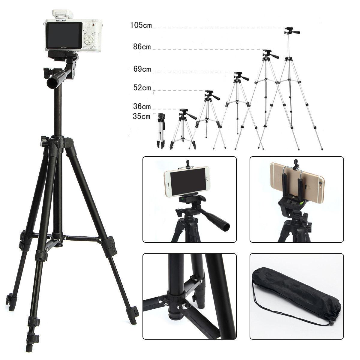 Professional Aluminium Camera Tripod Stand Holder for Samsung DSLR Cell Phone Black
