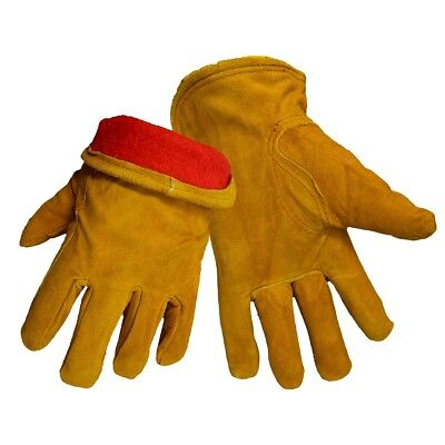 Global Glove Split Cow Leather Work Gloves With Red Fleece Lining 12 Pair