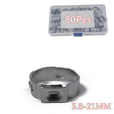 Boxed Single Ear Plus Stainless Steel Hose Pipe Clamps O Clips Fuel Air Water
