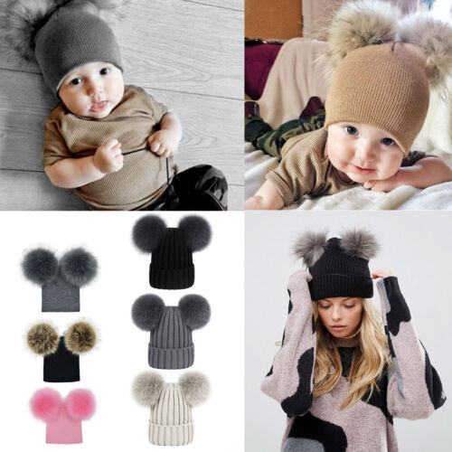 Mom/&Newborn Kid Baby Boy Girls Fur Pom Hat Winter Warm Knit Bobble Beanie Cap XX