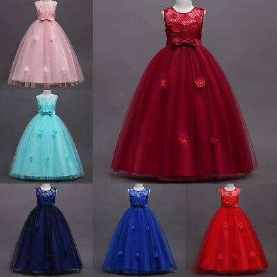 Girls Long Gown (Flower Girl Dress Lace Long Formal Ball Gown for Kids Party Wedding)