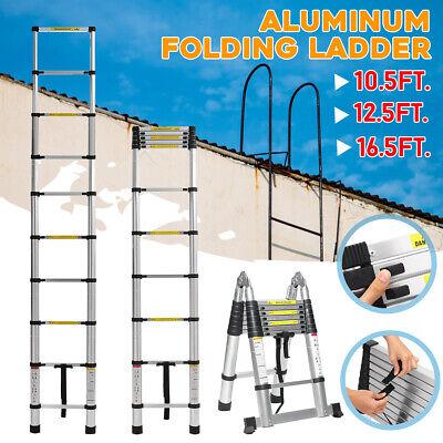 16.5ft Aluminum Telescopic Extension Folding Step Multi-use Non-slip Ladder