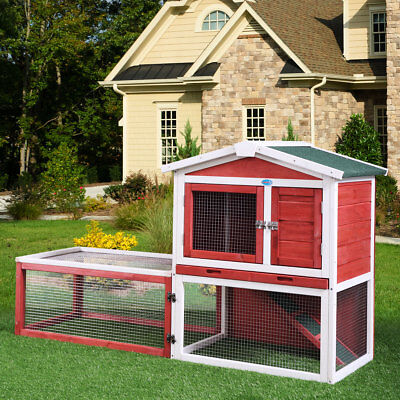 "61"" Wooden Deluxe Poultry Cage Rabbit Hutch Chicken Coop Hen House Backyard"