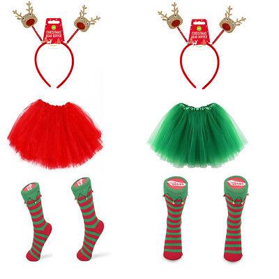 ostüm Damen Mädchen Renntier 3 Teiliges Set Elfer Helfer Socke (Socke Kostüm)