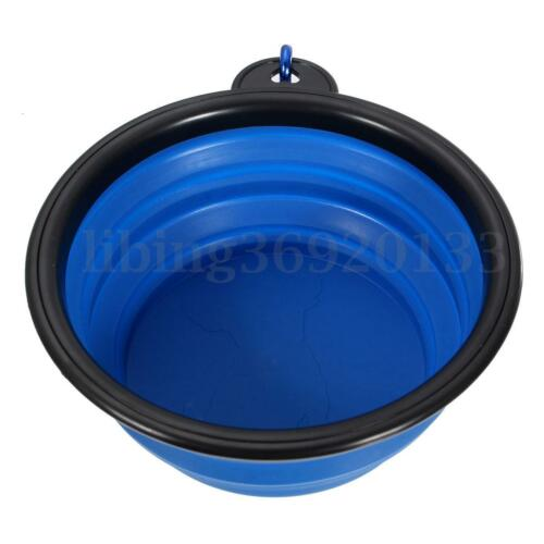 Pet Dog Cat Water Collapsible Silicone Bowl Portable Dish Feeding Feeder US