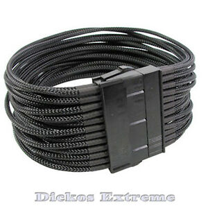 24 Pin ATX 12V PSU Extension Cable Black Sleeved 30cm/12