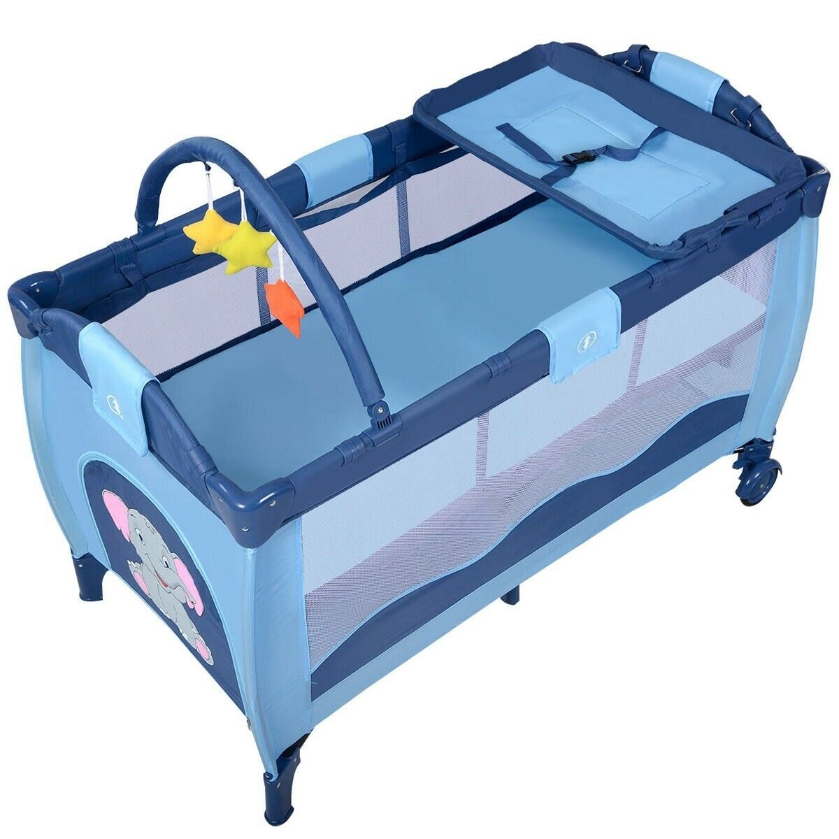 New Coffee Baby Crib Playpen Playard Pack Travel Infant Bass