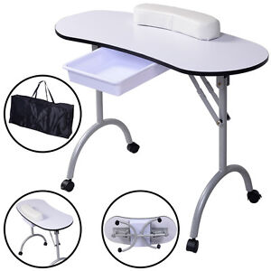 White manicure nail hand table professional portable salon for Fold away nail table