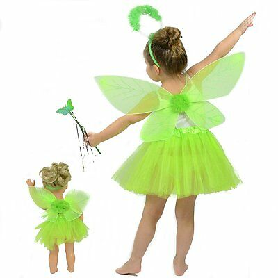 Green Fairy/Pixie Dress up Costume for Girls - Kids Matching Pretend Play Outfit - Fairy Outfits For Kids