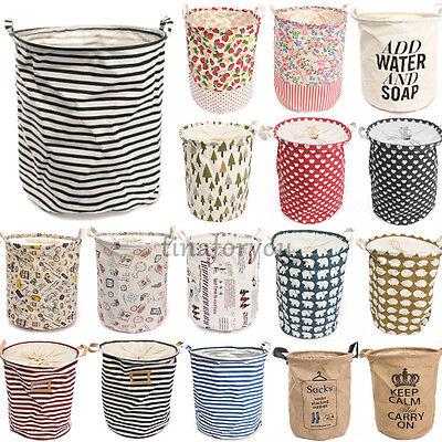 Foldable Cotton Linen Washing Clothes Laundry Basket Sorter Bag Hamper Storage