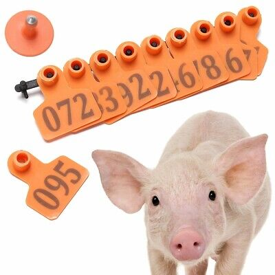 Animal Ear Tags 1-100 Number Plastic Livestock Tags Applicator Goat Sheep Cow US ()