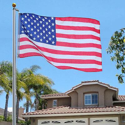 25Ft Aluminum Sectional Flagpole Kit Outdoor Halyard Pole + 1PC US American Flag