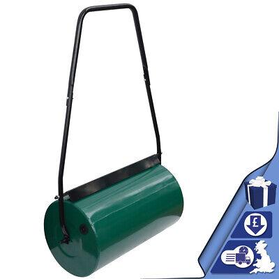46L Lawn Roller | Manual Metal Grass Roller Aerator Water Sand Filled Gardening
