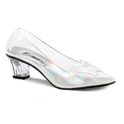 Clear Cinderella Princess Wedding Glass Slippers Drag Large Womans Shoes 11 -