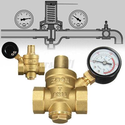 Dn20 Npt 34 Adjustable Brass Water Pressure Regulator Reducer W Gauge Meter